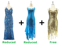 Buy 1 Long Handmade Sequin Dress & 1 Sequin Fabric Dress With Discounts And Get 1 Short Sequin Fabric Dress Free (SPCL-028)