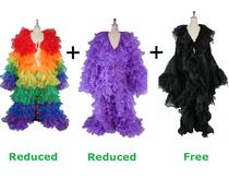 Buy 2 Long Organza Ruffle Coat with Long Sleeves  With 20% Discount Each  And Get 1 Long Semi Organza Ruffle Coat Free