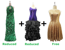 Buy 1 Long Handmade Sequin Dress & 1 Long Sequin Fabric Dress With Ruffle Skirt With 20% Discount Each And Get 1 Short Sequin Fabric Dress Free (SPCL-030)