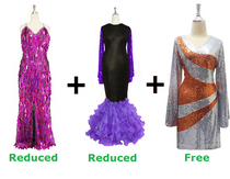 Buy 1 Long Fuchsia Paillette Handmade Dress & 1 Long Sequin Fabric Dress With Ruffle Hemline With 20% Discount Each And Get 1 Short Sequin Fabric Dress Free (SPCL-031)