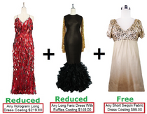 Buy Any 1 Long Hologram Handmade Dress (US$219.00) & Any 1 Long Sequin Fabric Dress With Ruffle Hemline (US$149.00) With 20% Discount Each & Get Any 1 Short Sequin Fabric Dress Free (US$99.00) (SPCL-032)