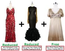 Buy Any 1 Long Hologram Handmade Dress (US$219.00) & Any 1 Long Sequin Fabric Dress With Ruffle Hemline (US$149.00) With Discount Each & Get Any 1 Short Sequin Fabric Dress Free (US$99.00) (SPCL-032)