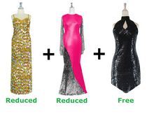 Buy 1 Long Hologram Sequin Handmade Dress & 1 Long Sequin Fabric Dress With 20% Discount Each And Get 1 Short Sequin Fabric Dress Free (SPCL-033)
