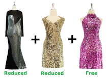 Buy 1 Long Sequin Fabric Dress & 1 Short Sequin Fabric Dress With 20% Discount Each And Get 1 Short Sequin Fabric Dress Free (SPCL-034)