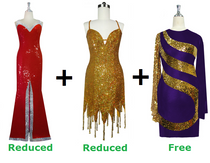 Buy 1 Long And Short Handmade Sequin Dress With Discounts On Each & Get 1 Short Sequin Fabric Dress Free (SPCL-055)
