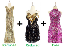 Buy 1 Long Sequin Fabric Dress And Short Handmade Sequin Dress With Discounts On Each & Get 1 Short Sequin Fabric Dress Free (SPCL-056)