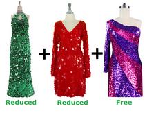 Buy 1 Long Handmade & 1 Short Handmade Dress With Discounts On Each & Get 1 Short Sequin Fabric Dress Free (SPCL-062)
