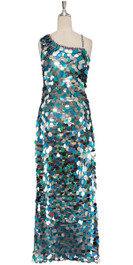 In-Stock Long Handmade Sequin Dress, In Silver & Turquoise Hologram Sequins (STL2018-002)