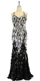 In-Stock Long Handmade Sequin Dress, In Black And Silver Diamond Sequins. (STL2018-004)