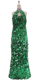 In-Stock Long Handmade Sequin Dress, In Green Metallic Sequins. (STL2018-005)
