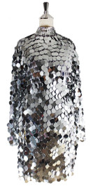 In-Stock Short Handmade Sequin Dress, In Silver Metallic Sequins (STS2018-004)