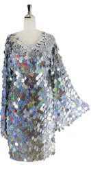 Short Handmade Silver Hologram Sequin Dress with Sleeves - Front View