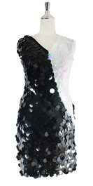 Short Handmade Sequin Dress, In Black Metallic And White Transparent Sequins - Front View