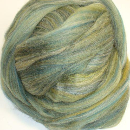 Multi Green Polwarth wool roving