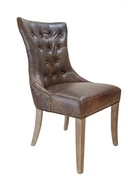 Martine tufted leather arm chair for Tufted leather chair design