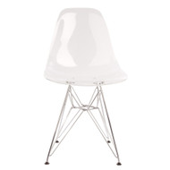 Charles Eames DSR Style Clear Side Chair with Metal Dowel Legs