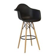 Charles Eames Style DAW Bar Stool, Black ABS Plastic
