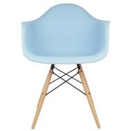 Charles Eames Style DAW Arm Chair, Blue ABS Plastic