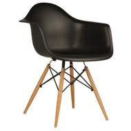 Charles Eames Style DAW Arm Chair, Black ABS Plastic