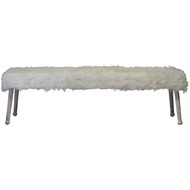 Luxe White Sheepskin Bench