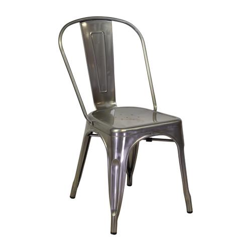 tolix side chair in matte galvanized steel