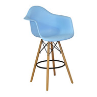 Charles Eames Style DAW Counter Stool, Blue ABS Plastic
