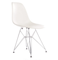 Charles Eames DSR Style White Side Chair with Metal Dowel Legs