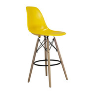 Charles Eames Style DSW Counter Stool in Yellow