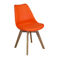 Charles Jacobs Side Chair, Solid Oak Legs, Orange