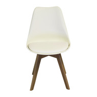 Charles Jacobs Side Chair, Solid Oak Legs, White