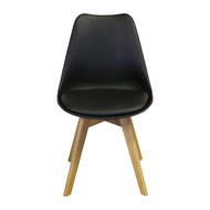Charles Jacobs Side Chair, Solid Oak Legs, Black