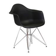 Charles Eames Style DAW Arm Chair with Metal Eiffel Legs, Black
