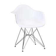 Charles Eames Style DAW Arm Chair with Metal Eiffel Legs, White