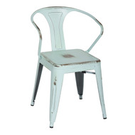 Bastille Industrial Arm Chair in Sky Blue Galvanized Steel