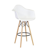Charles Eames Style DAW Bar Stool, White ABS Plastic