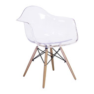 Charles Eames Style DAW Arm Chair, Clear ABS Plastic With Wooden Side Legs