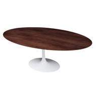 """Saarinen Style Tulip Walnut Oval Dining Table White Base 77"""""""