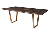 "Live Edge Slab Dining Table 84"" Gold Legs Jacobean Stain"