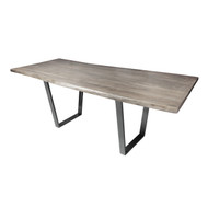 "Live Edge Slab Pub Dining Table 84"" Grey Wash Dark Grey V Legs Stain"