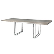 "Live Edge Slab Pub Table 84"" Chromed Galvanized Leg Grey Wash Stain"
