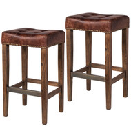 Set of 2 Ash Counter Stool in Vintage Brown Leather