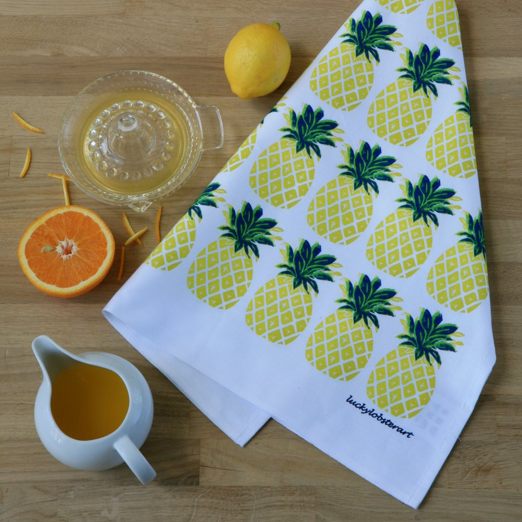 Pineapple tea towel with design from the original lino print artwork from Lucky Lobster Art in England.