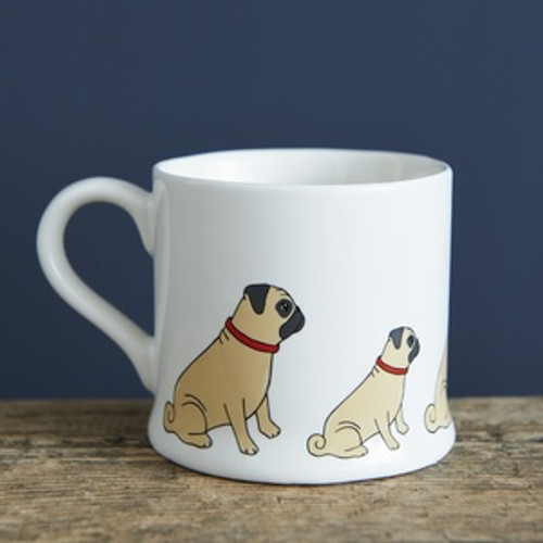 Pottery pug mug from Sweet William Designs.