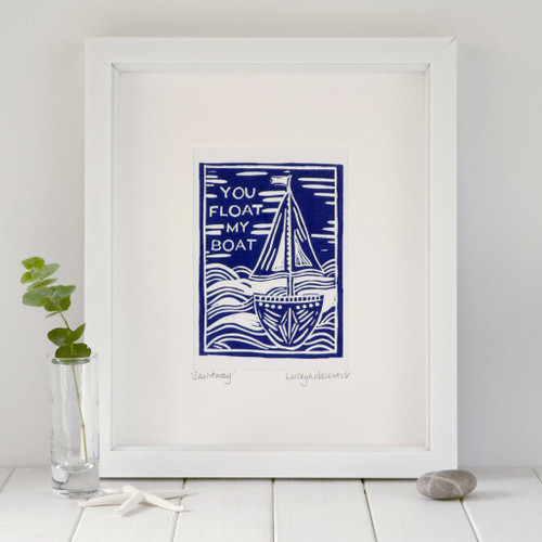 "Framed ""You Float My Boat"" print taken from the original lino print artwork from Lucky Lobster Art in England."