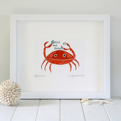 Framed Coastal Crab print taken from the original lino print artwork from Lucky Lobster Art in England.