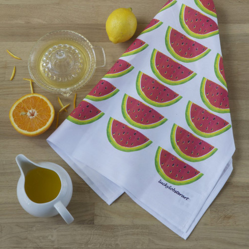Watermelon tea towel with design from the original lino print artwork from Lucky Lobster Art in England.