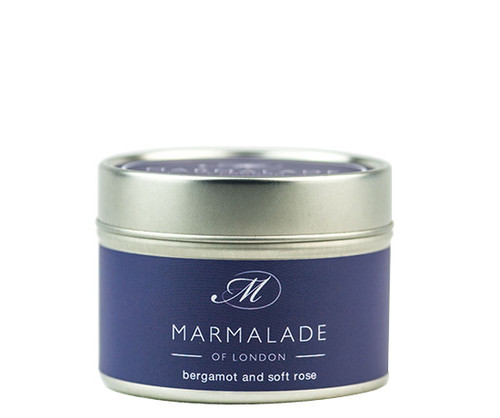 Bergamot & Soft Rose small tin candle from Marmalade of London.