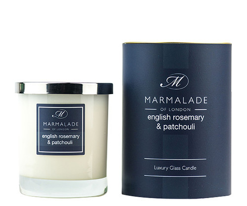 English Rosemary & Patchouli glass candle from Marmalade of London.
