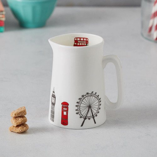 Bone china London Skyline half pint jug from Victoria Eggs.