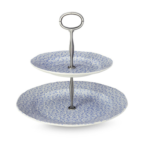Burleigh Blue Felicity Two-Tier Cake Stand